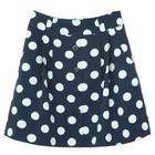 กระโปรงแฟชั่นทรงบาน Botton Point Linen Flare Skirt ผ้าไหมอิตาลีพิมพ์ลาย Polka Dot จุดขาวพื้นน้ำเงิน