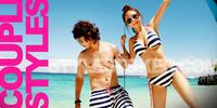 มาหวานแพคคู่ ด้วยแฟชั่นเสื้อผ้า Beachwear ชุดว่ายน้ำคู่รักเกาหลี กันนะจ๊ะ