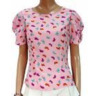 #เสื้อผ้าแฟชั่น #เสื้อผ้าผู้หญิง ผ้าหางกระรอกสีชมพูพิมพ์ลายผีเสื้อ คอกลมมีซิปหลังเข้ารูป แขนเสื้อดีไซน์เก๋ สวมใส่สบาย งานตัดเย็บคุณภาพ