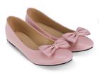 [พร้อมส่ง] รองเท้าแฟลช ติดโบว์ สีชมพู หวานๆ น่ารัก