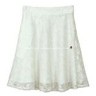 กระโปรงแฟชั่น กระโปรงทรงบาน Lace Flare Skirt ผ้าลูกไม้บุหงาฝรั่งเศส ลายดอกไม้ สีขาวออฟไวท์