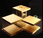 กล่องเค้กปอนด์ pvc+ฐาน+ฝา  สีทอง
