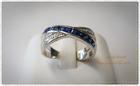 SR0011 แหวนเงินชุบทองคำขาวประดับพลอยน้ำเงินแต่งเพชรCZ