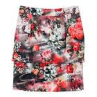 กระโปรงแฟชั่น กระโปรงทำงาน Vintage Rose Skirt ผ้าไหมอิตาลีพิมพ์ลายดอกกุหลาบแดง