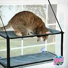 """เปลแมว ที่นอนแมว 2ชั้น แบบติดกระจก ขนาด 24""""x30"""" รับน้ำหนักได้ 15Kg."""