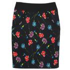 กระโปรงแฟชั่น มีกระเป๋า Pocket Contain Botton Point Skirt ผ้าญี่ปุ่นผสมสเป็นเด็กพิมพ์ลายดอกไม้โทนน้ำเงิน