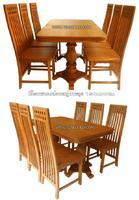 โต๊ะอาหารไม้สัก ขาหลุยเก้าอี้หัวสูง