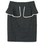 กระโปรงแฟชั่น กระโปรงระบาย Color Trim Detail Beautiful Skirt ผ้าคอตตอนญี่ปุ่นสีน้ำเงินพิมพ์ลายจุดขาว