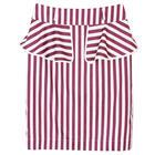 กระโปรงแฟชั่น กระโปรงระบาย Color Trim Detail Beautiful Skirt ผ้าคอตตอนสีม่วงพื้นขาว พิมพ์ลายทาง