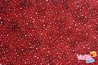 ผ้าคอตตอนนอก (1/2หลา) สีแดงจุดขาว