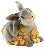กระต่ายกระปุกเรซินสีเทานั่งเกาหู