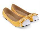 [พร้อมส่ง] รองเท้าแฟลช สีเหลือง แต่งโบว์คาดสีขาว