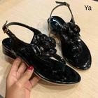 CHANEL SHOES รองเท้ารัดข้อ ลายดอกคามิเลี่ยน CC สีดำ SIZE 36-40