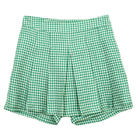 กางเกงกระโปรงขาสั้น Culottes Pants ผ้าคอตต้อนลายชิโนริ สีเขียว {งานตัดเย็บคุณภาพ}