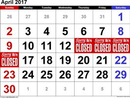 แจ้งวันหยุดร้านเดือนเมษายน 2017