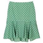 กระโปรงแฟชั่น กระโปรงทำงาน Dot Print Hi Lo Tulip Skirt ผ้าคอตต้อนญี่ปุ่นสีเขียว Polka Dot Green
