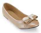 [พร้อมส่ง] รองเท้าแฟลช ติดโบว์ทูโทน สีน้ำตาลอ่อน