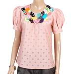 เสื้อผ้าแฟชั่น #เสื้อทำงาน ผ้าลายฉลุสีชมพูม่วง ตัวเสื้อดีไซน์เก๋
