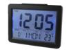 นาฬิกาปลุกดิจิตอล หน้าจอ 6.5 นิ้ว แสดงอุณหภูมิ พร้อมไฟ Backlight - สีดำ