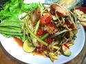 NO. SS39 ตำป่าหมูกรอบ (Papaya salad with Crispy pork)