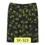 SK-323 กระโปรงแฟชั่นทรงสอบ ผ้าคอตต้อนญี่ปุ่นพิมพ์ลายดอกไม้เขียวพื้นดำ