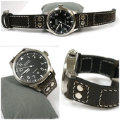 EPOS Pilot Watch With Strap Cracked Leather.