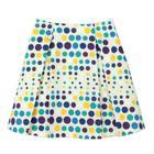 กระโปรงแฟชั่น กระโปรงทำงาน Multi Color Polka Dot Flare Skirt ผ้าคอตตอนญี่ปุ่น พิมพ์ลายจุดหลากสี