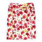 กระโปรงแฟชั่นทรงสอบ กระโปรงทำงาน Colorful Ribbon Belt Skirt ผ้าคอตต้อนญี่ปุ่นพิมพ์ลายดอกกุหลาบแดง ชมพู เหลือง พื้นขาว พร้อมโบว์คาดเอว