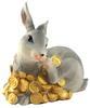 กระต่ายกระปุกเรซินสีเทาเกาแก้ม
