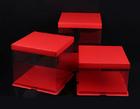 กล่องเค้ก PVC  ฐาน+ฝา สีแดง