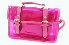 TB-5699-สีชมพูเข้ม-ราคาส่ง195ปลีก300บาท-กระเป๋าใสตัดเย็บสลับหนังสไตล์Cambridge-satchel-กระเป๋าใบเล็กด้านในแยกออกได้