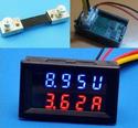DC 0-200V/100A Two-color Red Blue Display LED Volt Amp Meter 2in1 DC Voltmeter