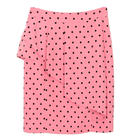 กระโปรงแฟชั่น กระโปรงทำงาน Ethnic Shirring Skirt ผ้า Hi-Twist สีชมพูพิมพ์ลาย Polka Dot จุดดำ