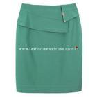 กระโปรงแฟชั่น กระโปรงทำงาน Diagonal Ruffles Edge Skirt กระโปรงสีเขียวอมฟ้า {งานตัดเย็บคุณภาพ}