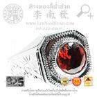 SR093 แหวนมอญหน้าแบนพลอย ข้างแกะลายไทย(นน6-8g) (เงิน 92.5%)