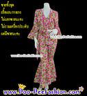 ชุดอีเจ้ย ชุดลายดอก ชุดย้อนยุค ชุดทองกวาว ธีมงานวัด เสื้อ + กางเกง สีสวยสดใสมากๆ (อกไม่เกิน 44 นิ้ว / เอวไม่เกิน 40 นิ้ว) (ดูไซส์ส่วนอื่น คลิ๊กค่ะ)