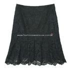 กระโปรงแฟชั่น-ทำงาน Striped Ruffle Skirt ผ้าลูกไม้เนื้อนิ่มสีดำ