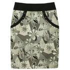กระโปรงแฟชั่น มีกระเป๋า Pocket Contain Botton Point Skirt ผ้าญี่ปุ่นพิมพ์ลายดอกไม้กราฟิกดำ