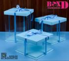 กล่องเค้กปอนด์ pvc+ฐาน+ฝา  สีฟ้า