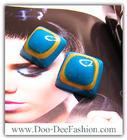 เครื่องประดับ ต่างหู ต่างหูแฟชั่น ต่างหูเกาหลี (ต่างหูสีฟ้า) (ดูไซส์ คลิ๊กค่ะ)