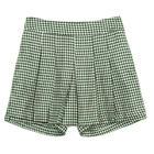 กางเกงกระโปรงขาสั้น Culottes Pants ผ้าคอตต้อนลายชิโนริ สีเขียวเข้ม {งานตัดเย็บคุณภาพ}