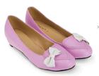[พร้อมส่ง] 38-42 รองเท้าแฟลช สีชมพู ติดโบว์สีขาว ทรงโลฟเฟอร์