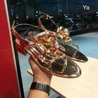 CHANEL SHOES รองเท้ารัดข้อ ลายดอกคามิเลี่ยน CC สีทอง SIZE 36-40