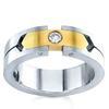 แหวนปอกมี 2 สี เม็ดเดี่ยวเม็ดเดี่ยว 0.10 ct (1 เม็ด) ทอง 90%