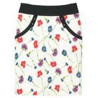 กระโปรงแฟชั่น มีกระเป๋า Pocket Contain Botton Point Skirt ผ้าญี่ปุ่นผสมสเป็นเด็กพิมพ์ลายดอกไม้หลายสีพื้นขาว