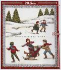 ผ้าอเมริกาลาย Ice Skate สีแดง
