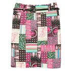 กระโปรงแฟชั่น กระโปรงทำงาน Belted Front Slit Skirt ผ้าคอตตอนญี่ปุ่นพิมพ์ลายตัดต่อลายดอกไม้ (ไม่รวมเข็มขัด)