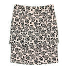 กระโปรงแฟชั่น กระโปรงทำงาน Vintage Rose Skirt ผ้าวาเลนติโนพิมพ์ลายดอกกุหลาบดำพื้นชมพู