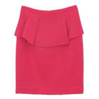 กระโปรงแฟชั่น กระโปรงทำงาน Wing H-Line Skirt ผ้าไหมอิตาลี สีชมพูบานเย็น