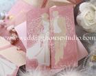 การ์ดแต่งงานการ์ดสามพับสีชมพูรหัส29-0071
